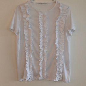 White t-shirt with ruffles